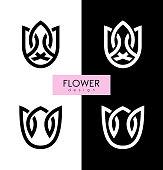 Vector illustration flowers inspiration vector logo design template on white and black backgrounds.