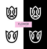 Vector illustration flowers inspiration vector logo design template on white and black backgrounds.