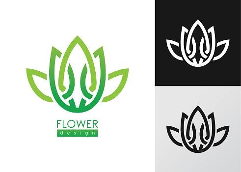 Creative flowers inspiration vector logo design template.