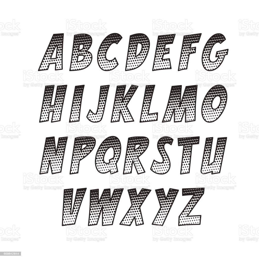 Fuente creativa. Colección de vector alfabeto en el estilo del arte pop y comics. - ilustración de arte vectorial
