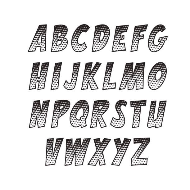 ilustraciones, imágenes clip art, dibujos animados e iconos de stock de fuente creativa. colección de vector alfabeto en el estilo del arte pop y comics. - tipos de letra de historietas