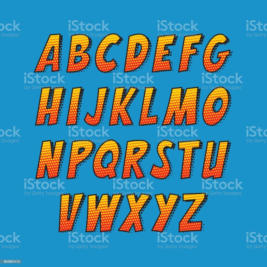 Creative font. Vector alphabet collection set in the style of comics and pop art. vector art illustration