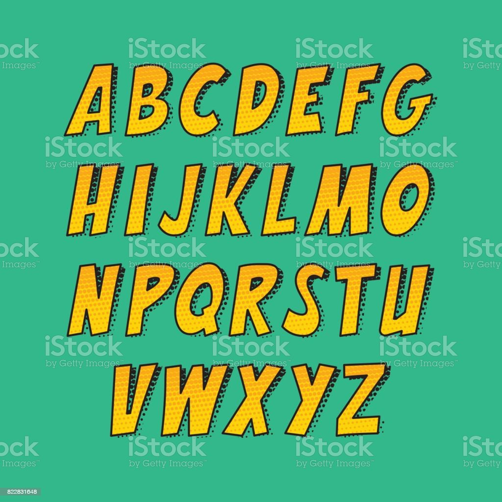 Kreative Schriftart. Vektor Alphabet Sammlungssatz im Stil von Comics und Pop-Art. – Vektorgrafik
