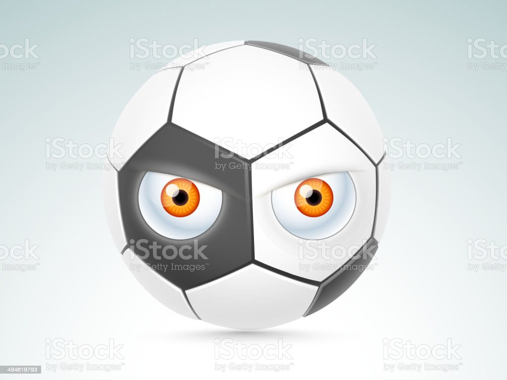 Creative football design with eyes on blue background. royalty-free creative football design with eyes on blue background stock vector art & more images of 2014