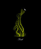 creative forest logo, save the forest animal idea, hare looks like tree on black background, forest or park emblem, vector