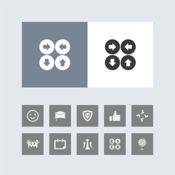 bonus simgeleri ile yaratıcı dört ok simgesi. - start stock illustrations