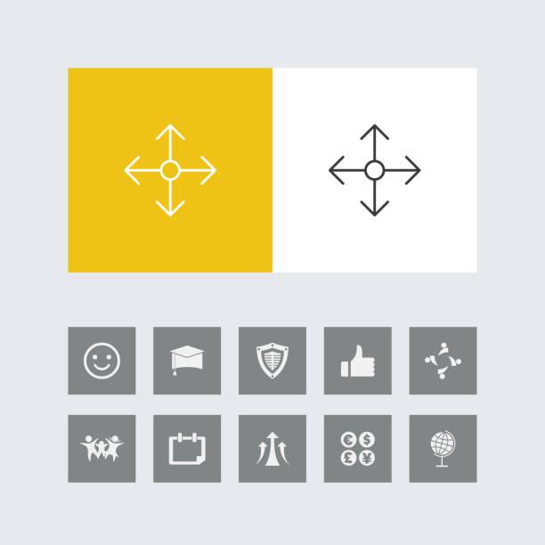 bonus simgeleri ile yaratıcı dört taraflı navigasyon hattı simgesi - start stock illustrations