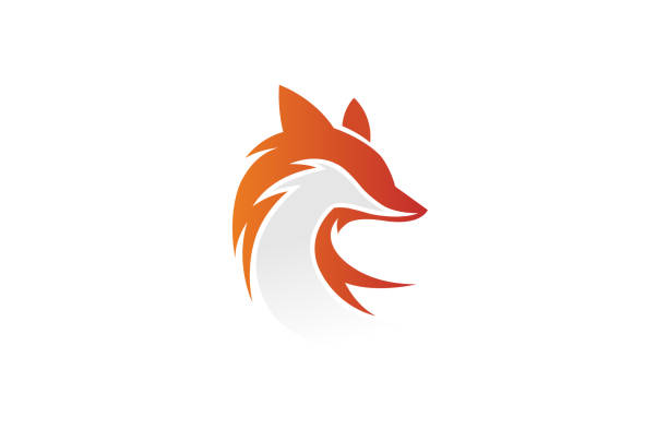 kreative fox head logo - fuchs stock-grafiken, -clipart, -cartoons und -symbole