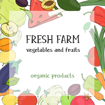 Creative frame with ripe farm vegetables and fruits on a white background. Template.