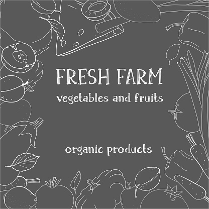 Creative frame with ripe farm vegetables and fruits. White outline on a dark background.