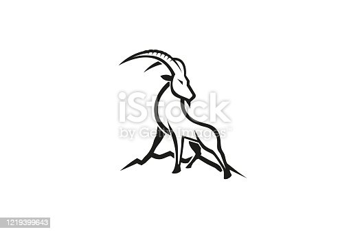 Creative Gazelle Hill Logo Vector Symbol Design Illustration