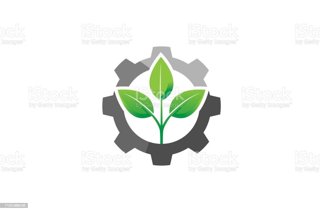 Creative Gear Leaf Agricultural technology Logo Design Illustration