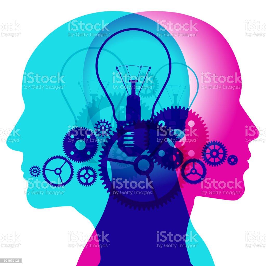 Creative Geared Minds vector art illustration