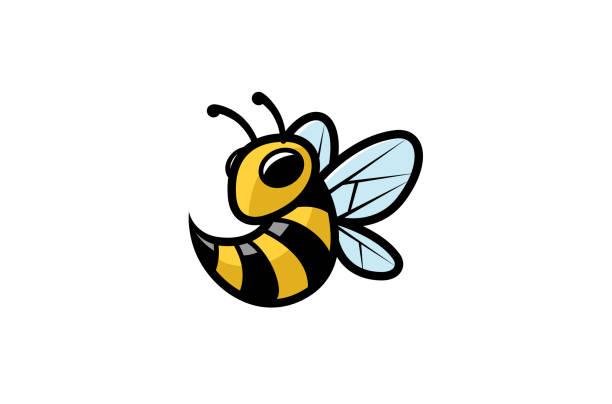 ilustrações de stock, clip art, desenhos animados e ícones de creative geometric bee logo - inseto himenóptero