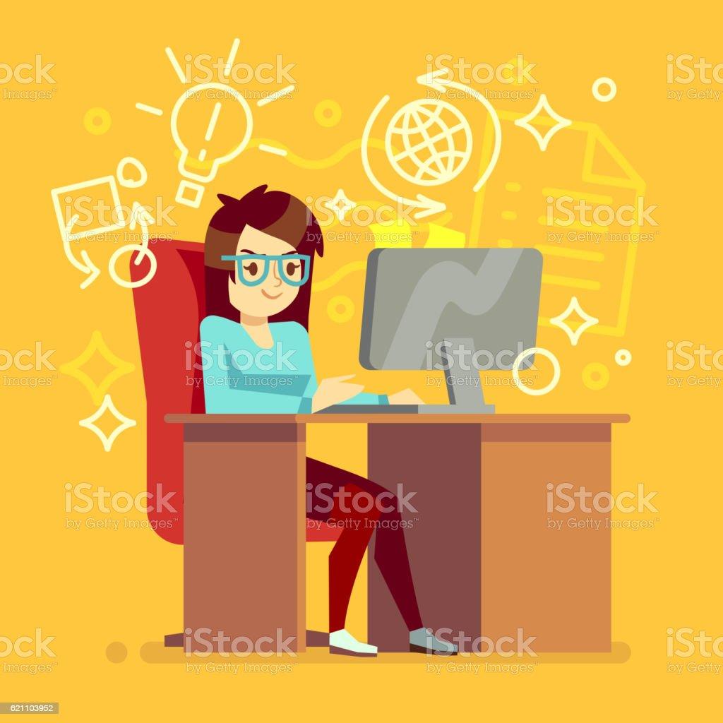 Creative Girl Work At Home Office With Computer Vector Illustration Vetor E  Ilustração Royalty Free