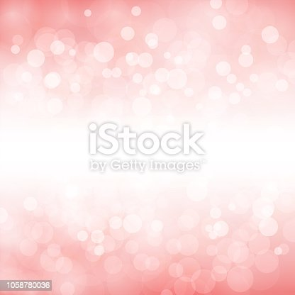 A creative glittery light pink background. merry christmas vector Illustration .There is a white cloudy band running horizontally in the middle merging into the pink background.  The background is dreamy pink with bubbly glitters in small, medium and large sizes overlapping. Copy space, background. Romantic, soft, hues.
