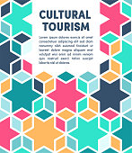 Creative vector illustration with colorful pattern background for cultural tourism. Graphic design composition, applicable for web banners, placards, posters, flyers etc.