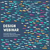 Creative vector illustration with colorful pattern background for design webinar. Graphic design composition, applicable for web banners, placards, posters, flyers etc.