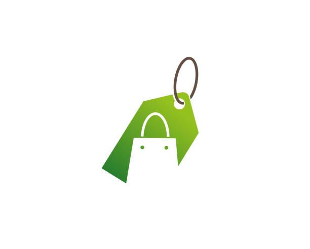 ilustrações de stock, clip art, desenhos animados e ícones de creative green bag shop label logo design vector symbol illustration - online shopping