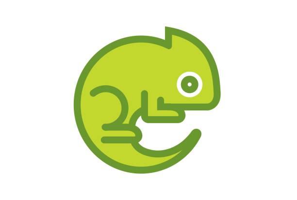 creative green chameleon design symbol - chameleon stock illustrations