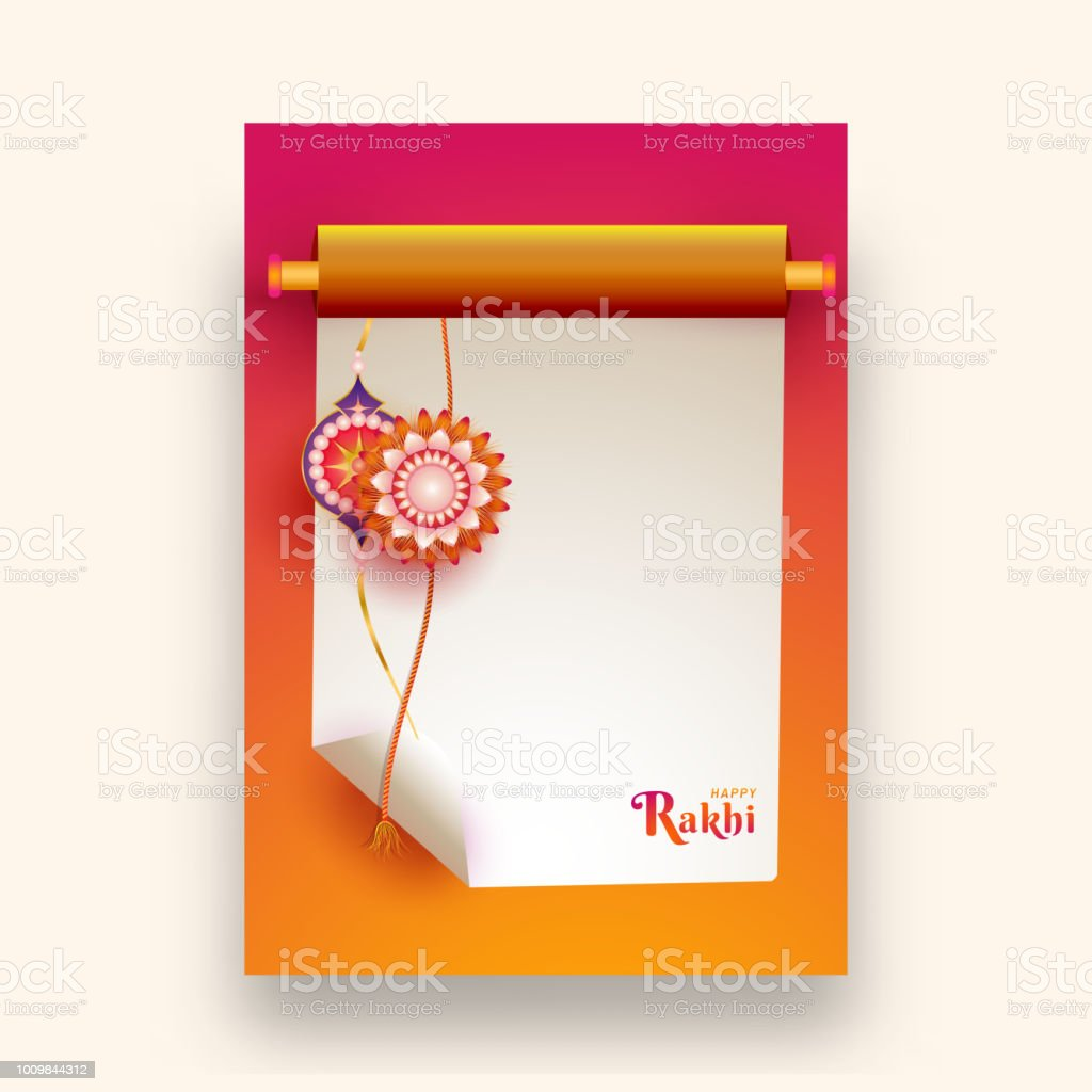 Creative greeting card design with illustration of floral rakhi on creative greeting card design with illustration of floral rakhi on blank scroll paper and space for m4hsunfo