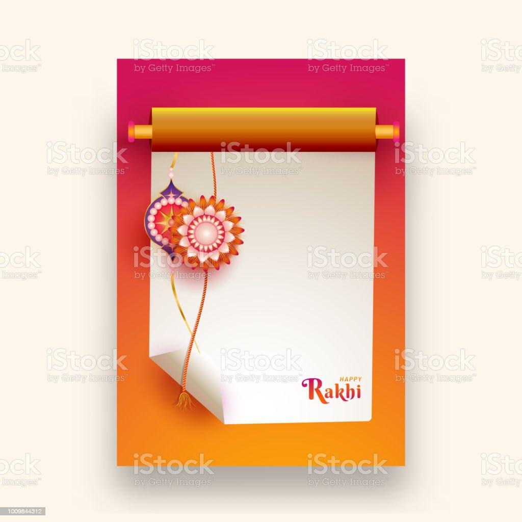 Creative Greeting Card Design With Illustration Of Floral Rakhi On