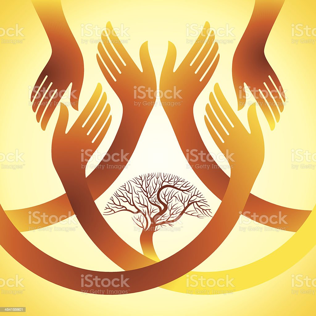 creative group of hands with save tree royalty-free stock vector art