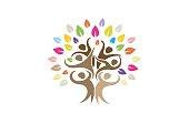 Creative Group Of People Tree  Symbol Design Illustration