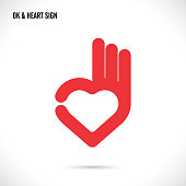 Creative hand and heart shape abstract icon design.Hand Ok symbol icon.Happy Valentines day symbol.Vector illustration