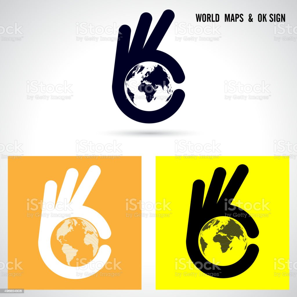 Creative hand and world map abstract design. vector art illustration
