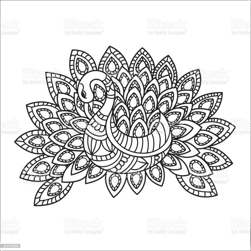 Tavus Kuşu Yaratıcı Elle çizilmiş Doodle Illüstrasyon Etnik çiçek