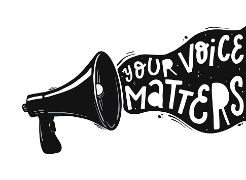 creative hand lettering quote 'Your voice matters'