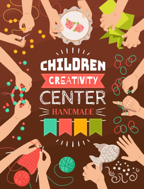 kreative handgemachte Kinder Studio Poster – Vektorgrafik