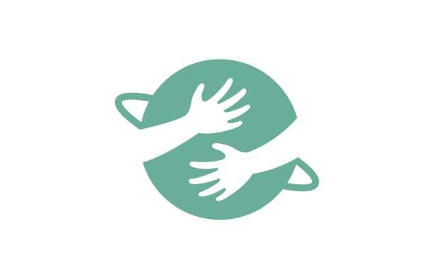 ilustrações, clipart, desenhos animados e ícones de mãos criativas, abraçando o planeta símbolo design - hug
