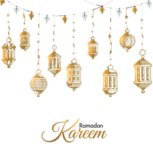 kreative hängende laternen, die auf weißem hintergrund für ramadan kareem gefeiert werden. kann als grußkarte oder posterdesign verwendet werden. - ramadan kareem stock-grafiken, -clipart, -cartoons und -symbole