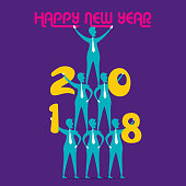 creative happy new year 2018 poster design pyramid celebrate new year