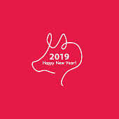 Creative happy new year 2019 design with one line design silhouette of pig. Minimalistic style vector illustration. Flat style.