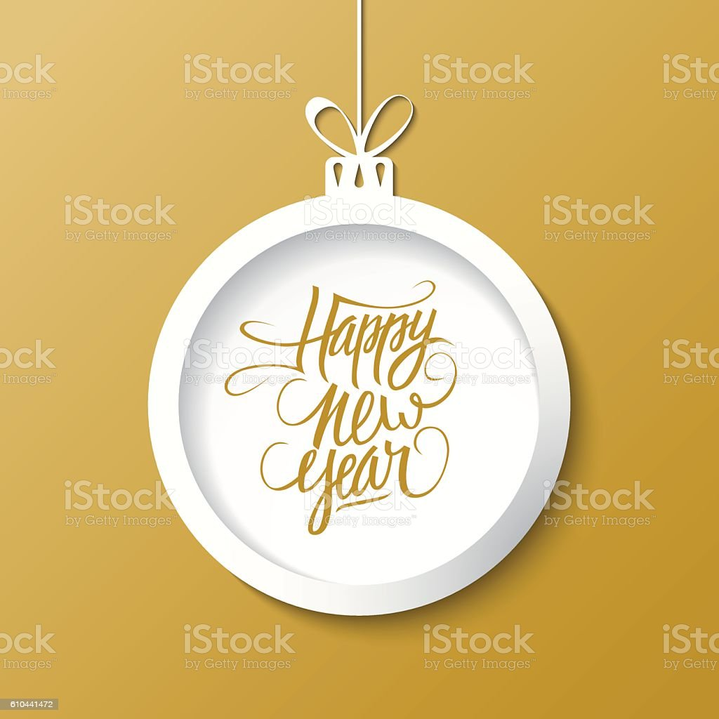 creative happy new year greetings text design with christmas ball royalty free creative happy