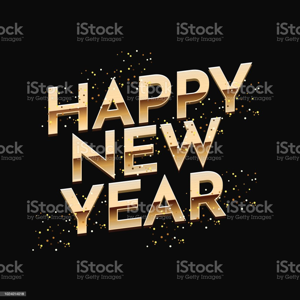 creative happy new year text on black background can be used as greeting card design