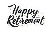 istock Creative happy retirement lettering Vector illustration 1310407673