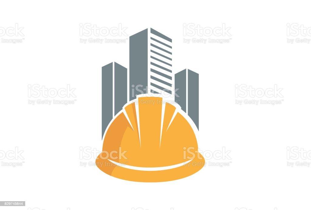 Creative Hardhat Architecture Building Design Symbol vector art illustration