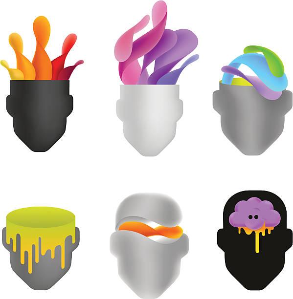 kreative köpfe - kopfschüsse stock-grafiken, -clipart, -cartoons und -symbole