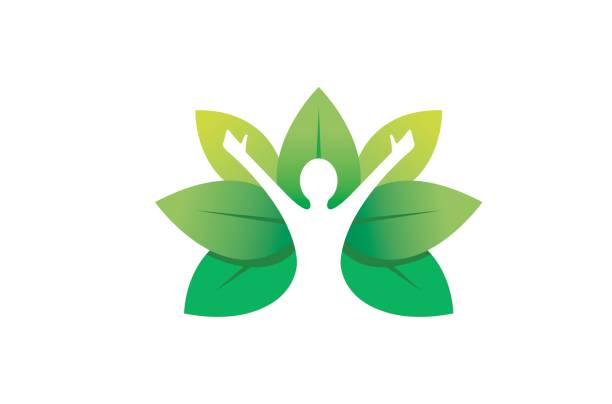 Creative Healing Body Leaves Symbol Design Creative Healing Body Leaves Symbol Design Illustration attitude stock illustrations