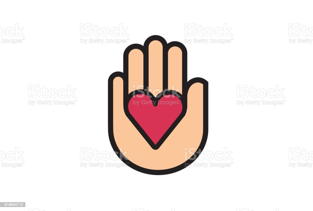 Creative Heart Shape Hand Giving Symbol Design Stock