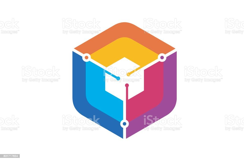 Creative Hexagon Colorful Technology Symbol Design vector art illustration
