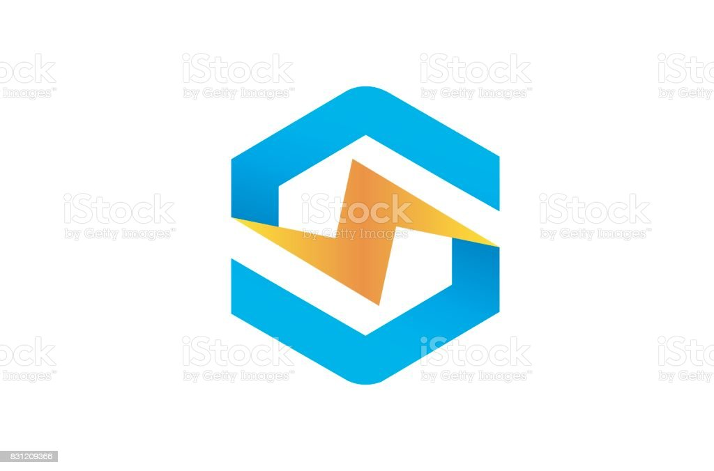 Creative Hexagon Lightning Bolt Symbol Design Stock Vector Art
