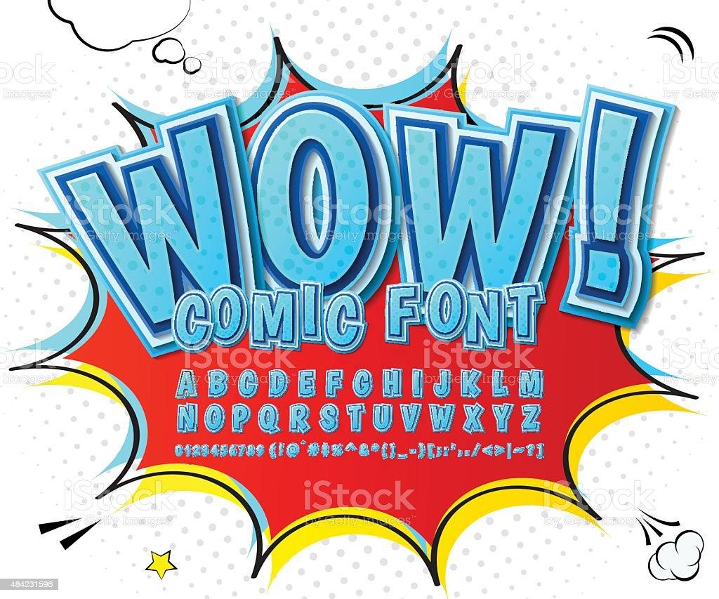 高詳細なブルーの漫画フォントます。アルファベット、コミック、ポップアート ベクターアートイラスト