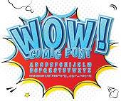 Creative high detail blue comic font. Alphabet, comics, pop art