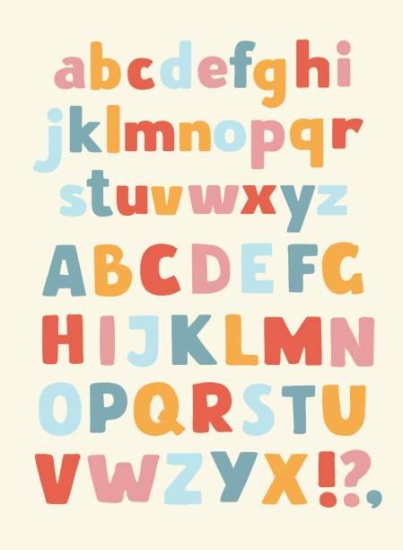 kreativ mit hohem detailgrad comic-schrift. alphabet im stil der comics. buchstaben für die dekoration von kinder illustrationen, comics und banner. einfach zu bedienen für werke. - kind stock-grafiken, -clipart, -cartoons und -symbole