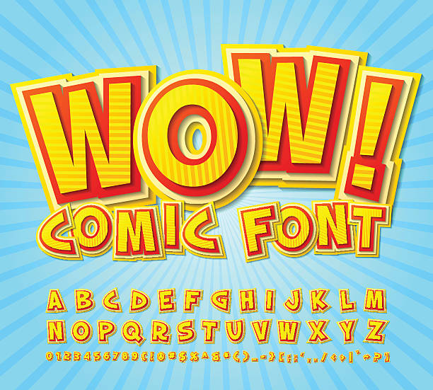 Creative high detail yellow-red comic font. Alphabe, comics, pop vector art illustration